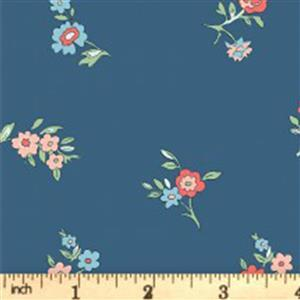 Liberty Cottage Garden Collection Blue Little Vine Fabric 0.5m