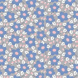 Riley Blake Meadow Lane in Grey Fuchsia Fabric 0.5m