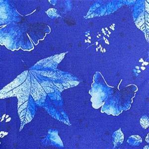 Lapis Leaves 2 Blue Fabric 0.5m