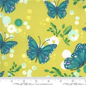 Moda Cottage Bleu in Mustard Butterfly Fabric 0.5m