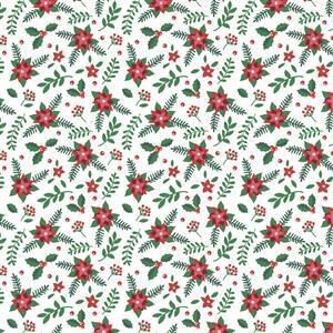 It's Always Unicorn Season Poinsettias on White Fabric 0.5m