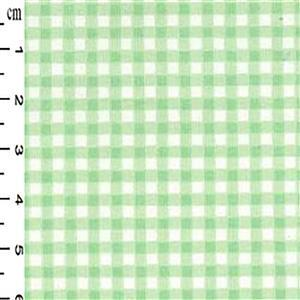 Mint Checks on White Gingham Cotton Poplin Fabric 0.5m
