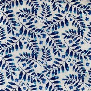 Henry Glass Midnight Sapphire in Leaf Stems Fabric 0.5m