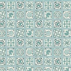 Liberty Emporium Collection Merchant Bright's Argyll Tile Green Fabric 0.5m