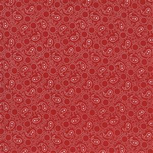 Moda Roselyn in  Red & White Paisley Fabric 0.5m