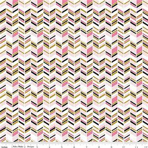 Riley Blake Chloe & Friends Herringbone White Sparkle Fabric 0.5m