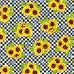 Sunny Sunflowers in Black Checkered Sunflower Fabric 0.5m