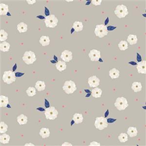 Morgan Grey Tossed Flowers Fabric 0.5m
