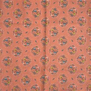 Woodland Songbirds in Mushroom Toss Peach Fabric 0.5m
