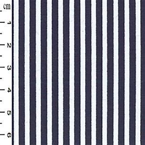 Navy Thin Stripes on White Fabric 0.5m