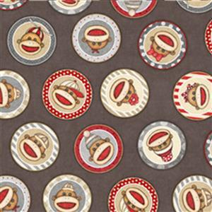 Dan Morris Monkey Biz Sock Monkey Circles Taupe Fabric 0.5m