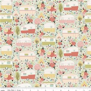 Riley Blake Joy In The Journey in Mint Camp Site Fabric 0.5m
