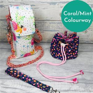 Living in Loveliness Fabulously Fast Fat Quarter Fun Issue 13 Sew Out and About; 4 x Riley Blake FQs Coral/Mint
