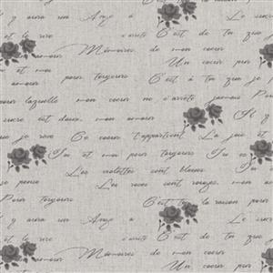 Shabby Chic Script & Grey Roses On Grey Cotton Linen Fabric 0.5m