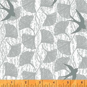 Norma Rose Songbirds on Grey Fabric 0.5m