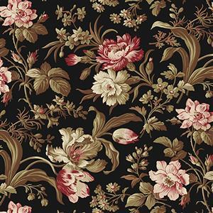Wildflower Woods in Pink Roses on Black Fabric 0.5m