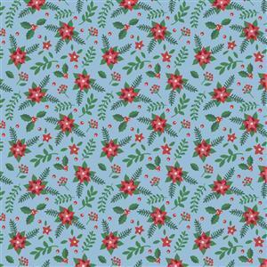 It's Always Unicorn Season Poinsettias on Blue Fabric 0.5m