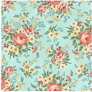 Spiced Garden in Spa Blue Foral Fabric 0.5m
