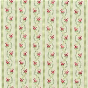 Henry Glass Violets Garden Stripe Sage Fabric 0.5m