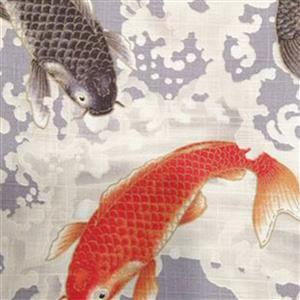 Zono Japanese Koi on Grey Fabric 0.5m