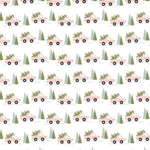 Poppie Cotton Snuggle Up Buttercup Trucks & Trees on White Fabric 0.5m Sewing Street exclusive