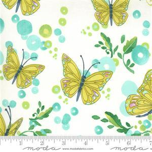 Moda Cottage Bleu in White Butterfly Fabric 0.5m