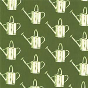 Moda Homestead Watering Cans on Green Fabric 0.5m