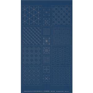 Sashiko Tsumugi Preprinted Geo 20 Indigo Blue Fabric Panel 108x61cm