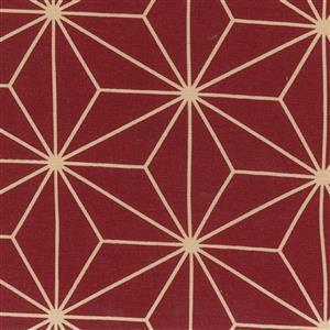 Sashiko Geometric Wine Gold Extra Wide Backing Fabric 0.5m (280cm width)