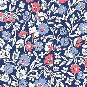 Liberty Orchard Garden Collection Midnight Blue & Pink Primula Dawn Fabric 0.5m