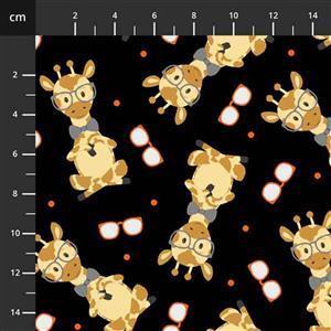 Henry Glass Wild & Free Black Tossed Giraffe Fabric 0.5m