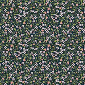 Daisy Mae Country Life Berries on Navy Fabric 0.5m