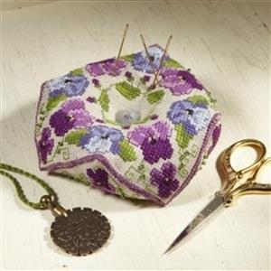 Cross Stitch Guild Beaded Biscornu Pansy & Violet on Linen Kit