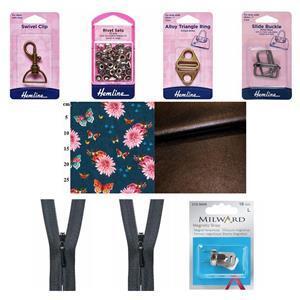 Butterflies Party Brown Pocketbook Bag Bundle: Fabric (1.5m) & Haberdashery