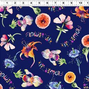Flower Talk Flowers on Blue Fabric 0.5m