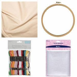 Embroidery Beginners Bundle: Calico (0.5m), Embroidery Hoop (20cm), Interfacing (1m) & Embroidery Threads (36 Skeins)