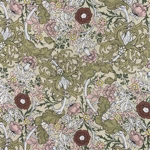 Country Floral Wild Side on Green Fabric 0.5m Exclusive