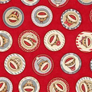 Dan Morris Monkey Biz Sock Monkey Circles Red Fabric 0.5m