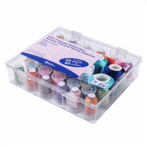 50 Thread Box & Storage Organiser: with Polyester Machine Embroidery Thread