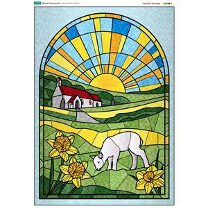 Stained Glass Easter Countryside Panel. 70cm x 103cm. Exclusive