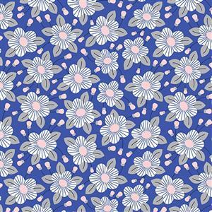 Riley Blake Meadow Lane in Blue Fuchsia Fabric 0.5m
