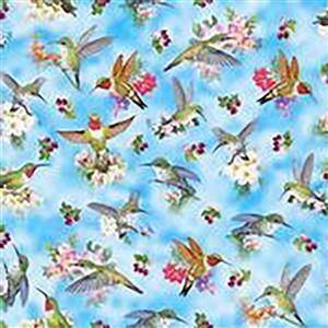 Hummingbirds on Blue Fabric 0.5m