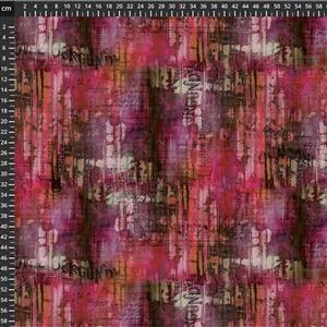 Tim Holtz Abandoned II in Hotel Burgundy VineYard Fabric 0.5m