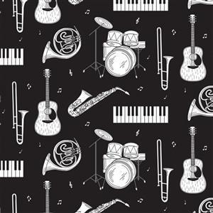 Music Instruments On Black Fabric 0.5m