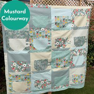 Mustard Riley Blake Tea with Bea Quilt Kit: Instructions & Fabric (4m). Get half a metre free.