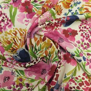 Field of Flowers Cream Viscose Challis Lawn Fabric 0.5m