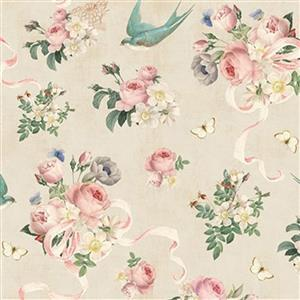 Riley Blake Rose Violets Floral Parchment Fabric 0.5m