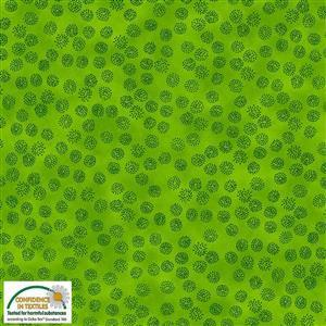 Stof Quilters Co-Ordinates Dandelion Heads Green Fabric 0.5m
