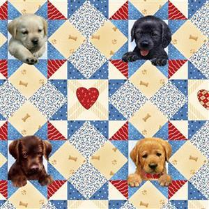 Pups in The Garden in Dog Bone Patch Fabric 0.5m
