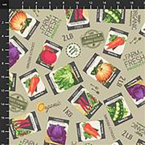 Certified Delicious Seed Packets On Sage Fabric 0.5m